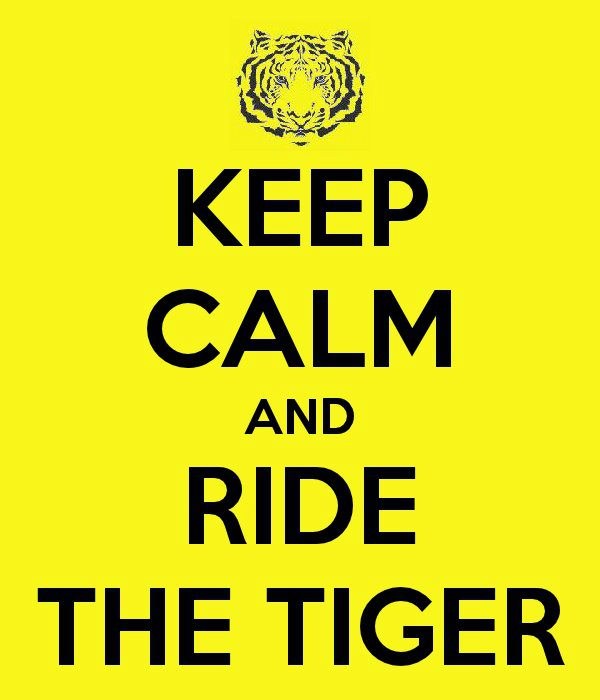 keep calm and ride the tiger