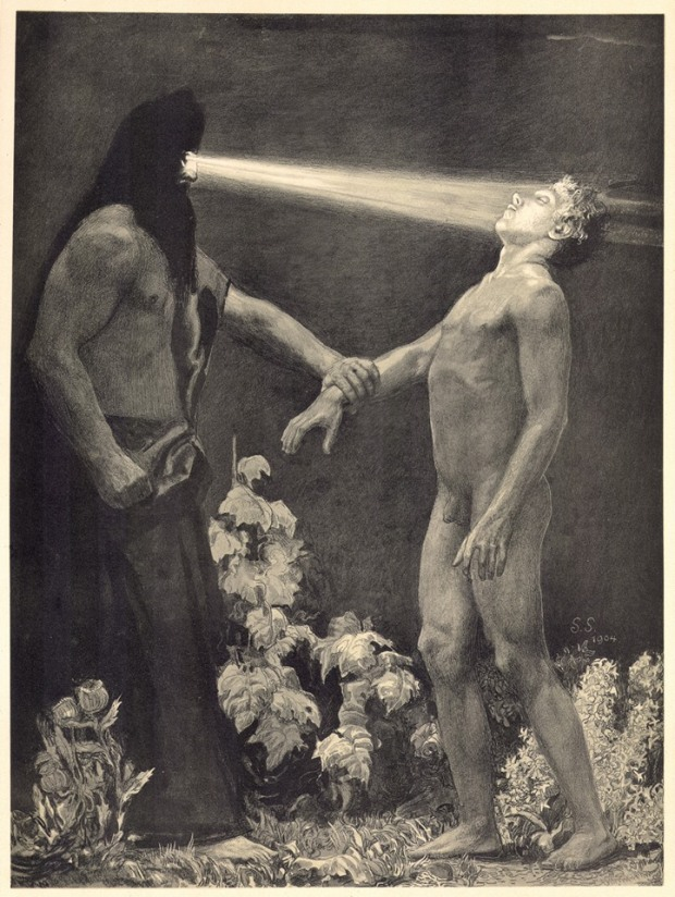 Hypnosis by Sascha Schneider, lithograph, 1904