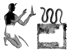 Ophis Thermuthis, sive Ob Basiliscus Ægyptiacus cum Sacerdote Supplicante