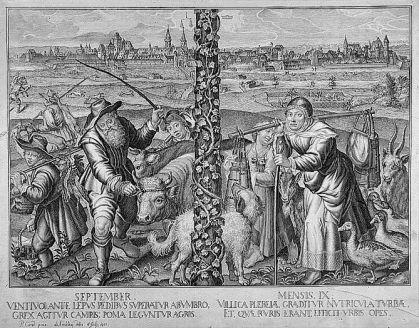 September - Mensis IX _Gesamtansicht, im Vordergrund Bauern mit allerlei Vieh, im Mittelgrund Jäger bei der Hasenjagd