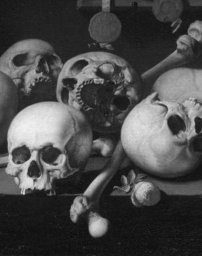 Vanitas Still Life with Skulls on a Table Aelbert Jansz van der Schoor 1660