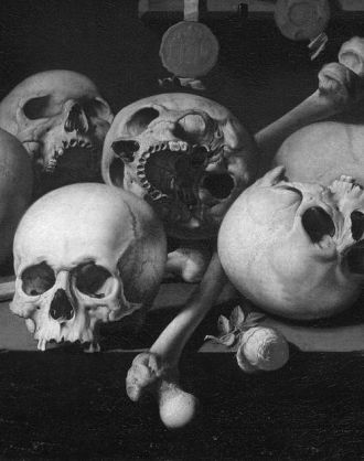Vanitas Still Life with Skulls on a Table Aelbert Jansz van der Schoor 1660