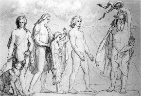 02 Odin bannit les enfants de Loki. Illustration de Lorenz Frølich 1906