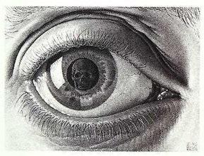 escher the eye skull