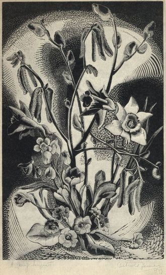 01 A Spring Bouquet, woodcut by Gertrude Hermes, from the book Wood-Engraving and Wood Cuts by Clare Leighton 1932, London