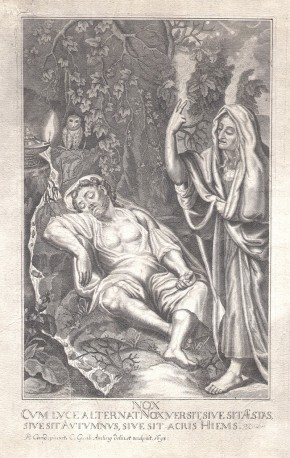 01 Night – Old Master Engraving – Carl Gustav Amling after Peter Candid