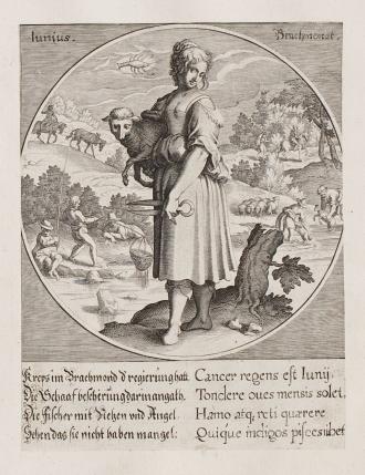 01 Personifizierung des Monats Juni, Kupferstich aus der Serie Die Zwölff Monadt des Jarres, gestochen von Wolfgang Kilian 1617