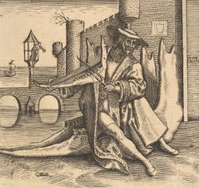 02-johann-theodor-de-bry-after-pieter-bruegel-the-elder-the-rich-man-playing-violin-on-a-jaw-bone-1500s