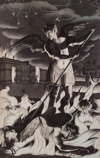 "01 ""The Great Satan"" as depicted in this metal engraving for John Milton_s Paradise Lost 1688"