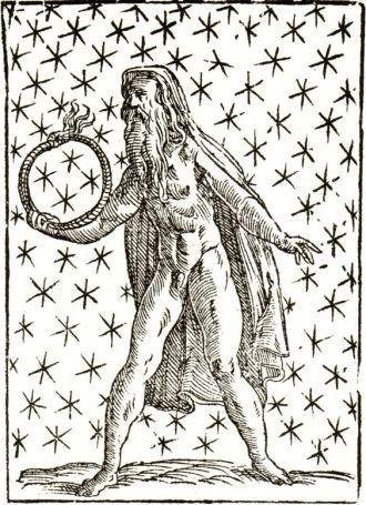02 A Saturnian Wielding of the Ouroboros - Vincenzo Cartari - Imagini delli Dei de gl_Antichi, Venice, 1571.