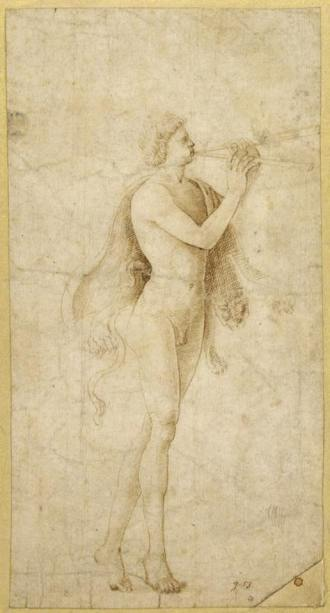 Bernardo Parentino (1437 - 1531) ~ A Satyr Playing an Aulos, Pen and brown ink about 1480 - 1490