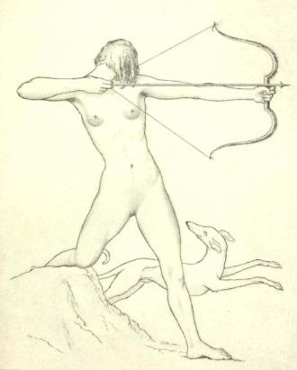 Frederick Garrison Hall (1879 - 1946) ~ Diana, etching 1929