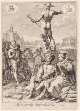 Jan Saenredam (1565–1607) ~ Mercury Presiding over the Visual and Rhetoric Arts,Engraving on laid paper, 1596