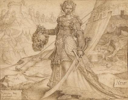 Maerten van Heemskerck (1498 - 1574) ~ Judith, Pen and dark brown and light brown ink over black chalk, 1560