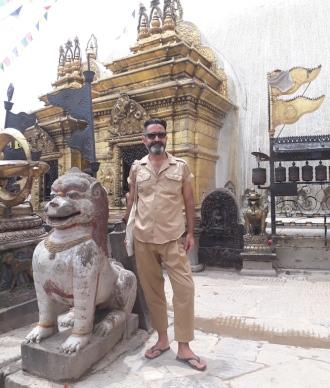 Júlio Mendes Rodrigo at Swayambhunath stupa - Kathmandu_August 2018_Photo by María Errehache