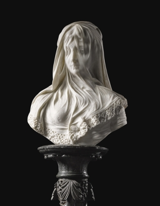 01 THE VEILED LADY, a bust, after the antique by Monti, 1875. (Also known as The Bride)
